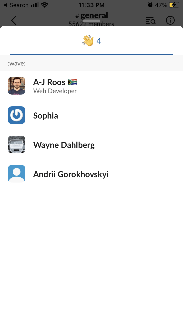 see who reacted on slack mobile