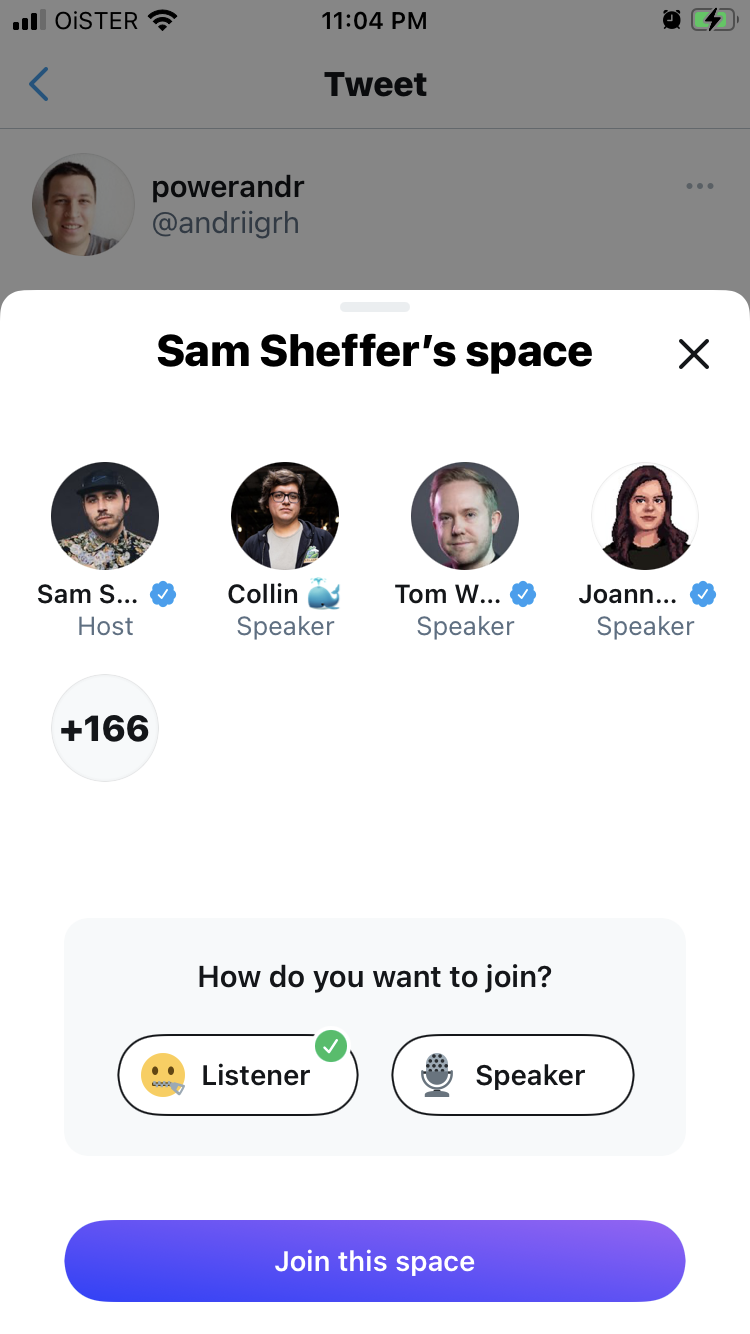 Join Twitter Spaces